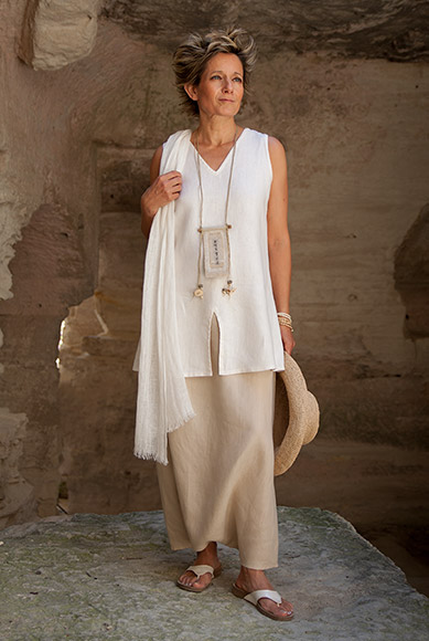 linen Outfit: sarouel skirt and short tunic