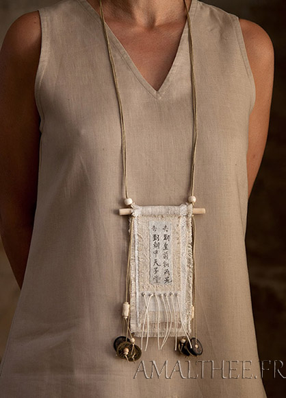 Vintage linen necklace with ethnic bone beads