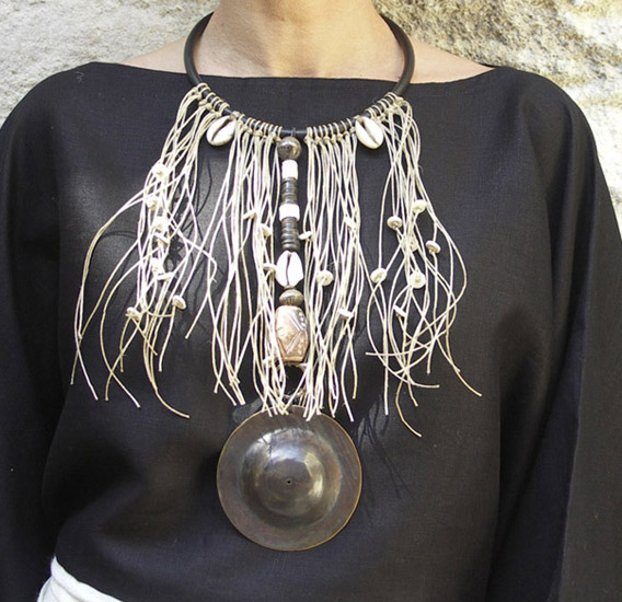 Ethnic tribal bib necklace