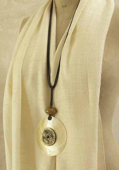 Mother pearl Necklace made of mother of pearl and ancient coin