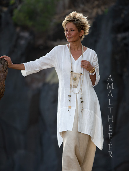 Our natural white linen shirt Emilie
