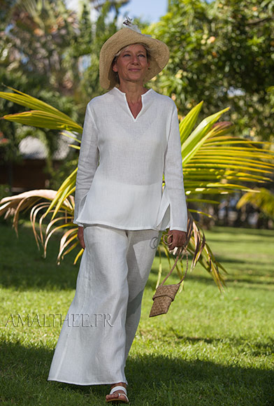 White linen tropical wedding outfit