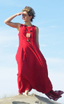 Dress  made of silk and linen  red color