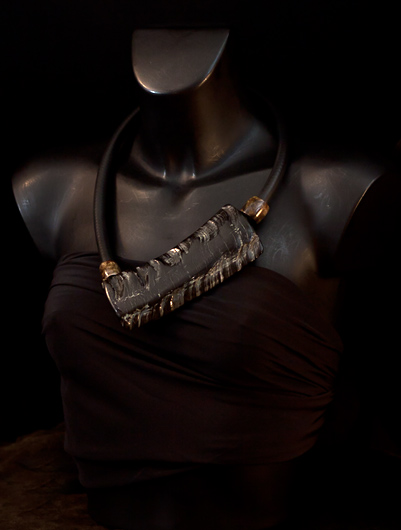 Contemporary asymmetrical buffalo horn necklace