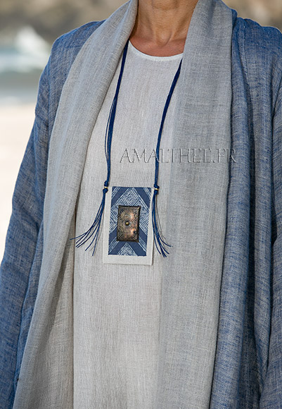 Loose fit blue linen summer coat