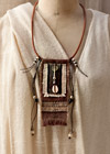 Upcycled handyed vintage french linen necklace