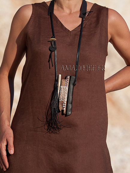 statement piece: contemporary tribal style wood and leather necklace