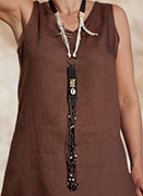 Upcycled vintage leather pendant with ethnic beads