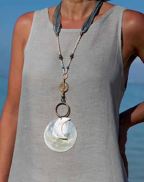 Mother of pearl pendant Sun and Moon