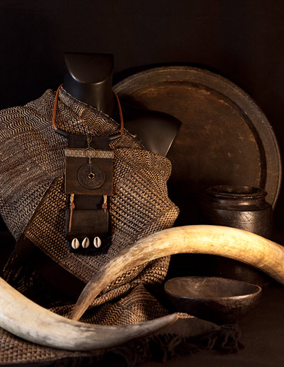 Bib Necklace tribal style made of ebony, ancient coint, shell and leather