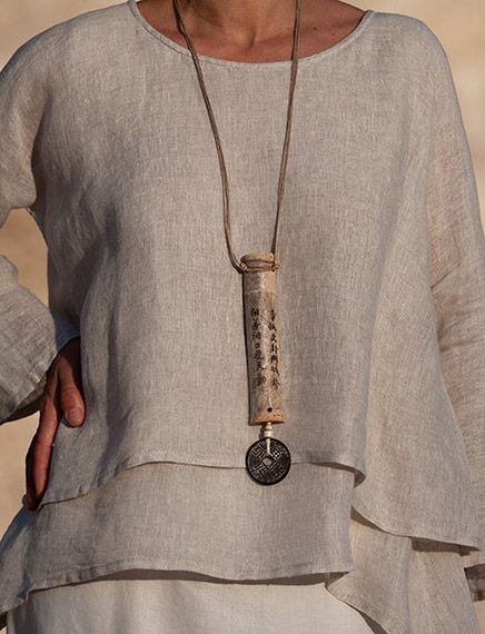Zen bamboo necklace with chinese lucky coin