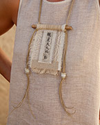 vintage linen necklace with Chinese printed calligraphy