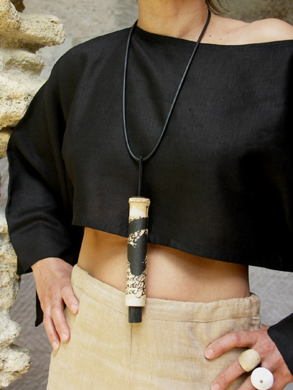 Pendant necklace: bamboo necklace with  calligraphy, rubber