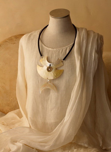 Large Necklace: Two hand cut mother of pearl pieces