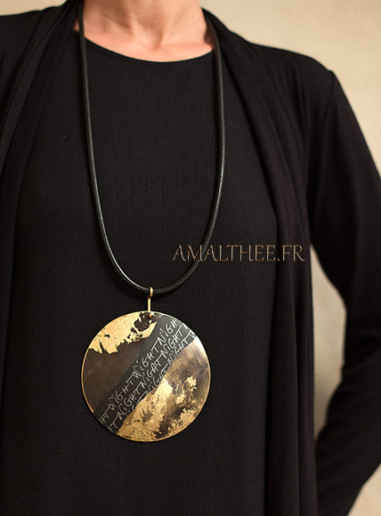 Stunning contemporary oxidized brass disc with gold leaf  and original calligraphy
