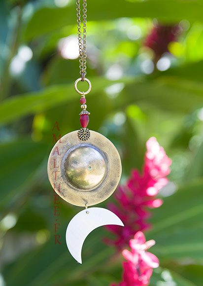 Symbolic wedding jewelry : Sun-Moon Cosmic Union pendant necklace