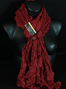 long  scarf of fine silk red poppy.