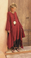 Raw silk tunic dark red color