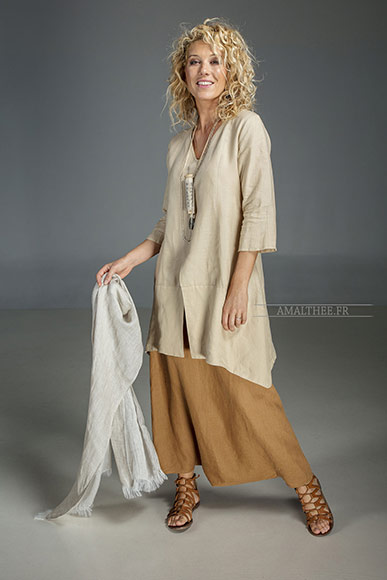 Our sand beige linen blouse Emilie 