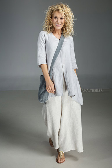 Our natural grey blue linen blouse Emilie