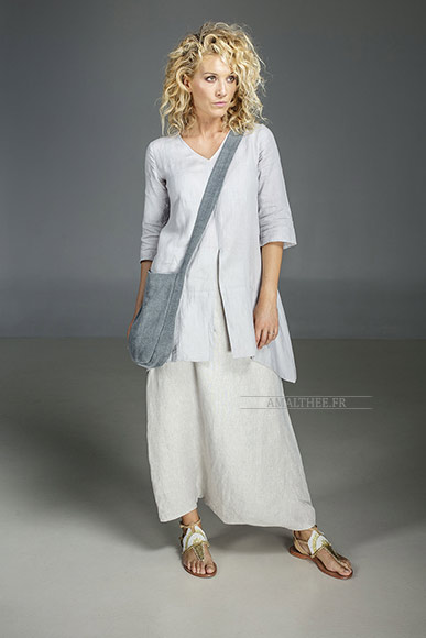 Our natural grey blue linen blouse Emilie and natural oatmeal linen sarouel