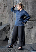 Indigo linen blouse  Flax  with   black linen pants