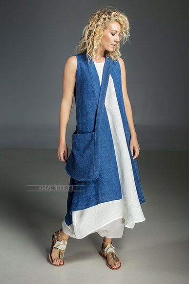 Long blue Indigo summer linen vest and white linen tunic, bag made of thick linen