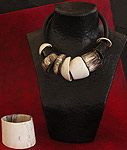 Spectacular ethnic necklacemade of horn and shells of Mauritania
