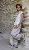 natural color linen pants with a silk/cotton blouse