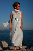 Set of white linen: tunic and harem pants