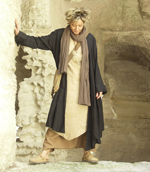 Asymmetrical black linen coat for women
