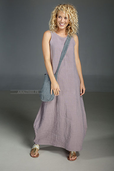 "Long dress ""OLGA"" lavender colour made of stonewash linen and linen bag"