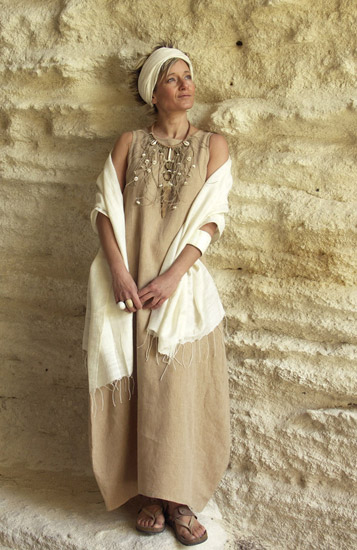 Dress made of beige linen