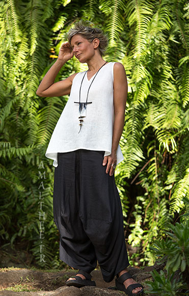 Loose fit black linen pants with drape legs