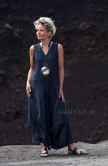 Long black linen summer dress with drape panels