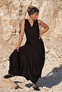 Long black linen dress perfect for summertime