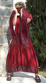 Red 'opera' taffeta dress.