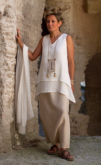 layered off white linen gauze top