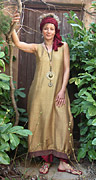 Dress / tunic in pure silk shantung bronze color.
