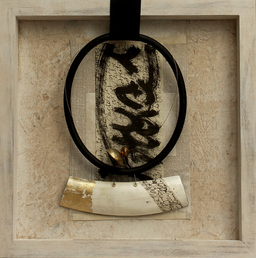Contemporary jewelry:  Zebu horn patinated with gold leaf