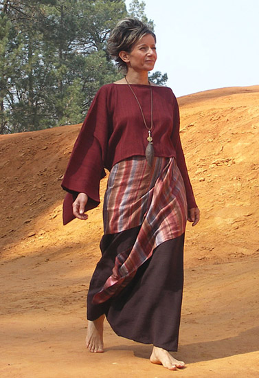 Top 'japon' with kimono sleeves made of raw silk