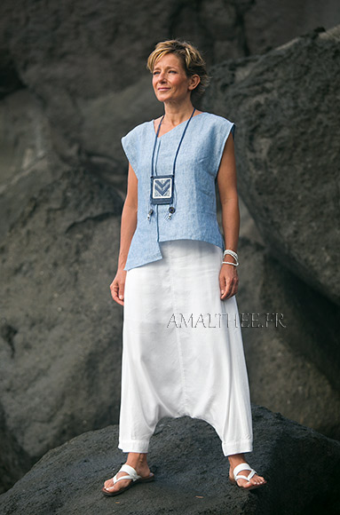 White and blue Casual linen outfit for holidays