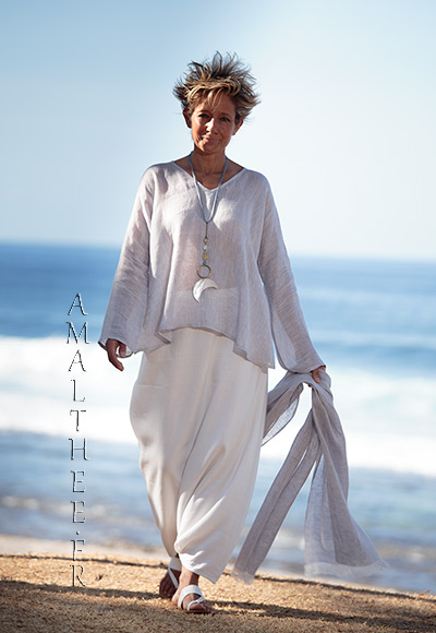 Ice grey blue linen gauze Tunic Dana: