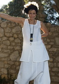 White linen set: short tunic  and japanese style harem pants