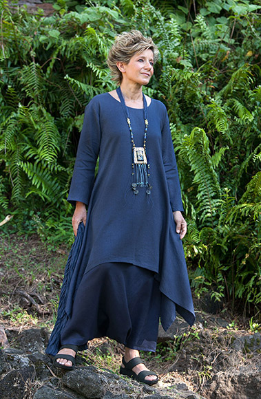 Pure linen vibrant blue Elke Tunic with flared sleeves
