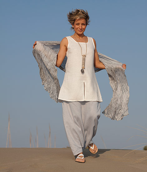 White linen tunic 'Arcade', ice blue linen sarouel/skirt