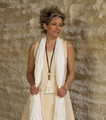 Tunic 'Losange': salmon/beige mixed linen worn aver a 