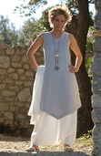 Ice blue linen Tunic with white linen harem pants