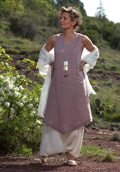 linen summer clothes: lilac color  tunic and sarouel-skirt