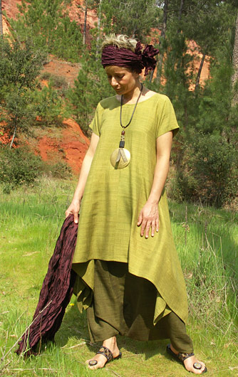 Set in raw silk:
